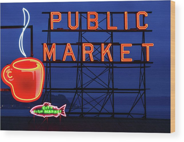 Neon Wood Print featuring the photograph Seattle Glow by Todd Klassy