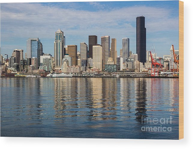 Seattle Wood Print featuring the photograph Seattle Reflection by Suzanne Luft
