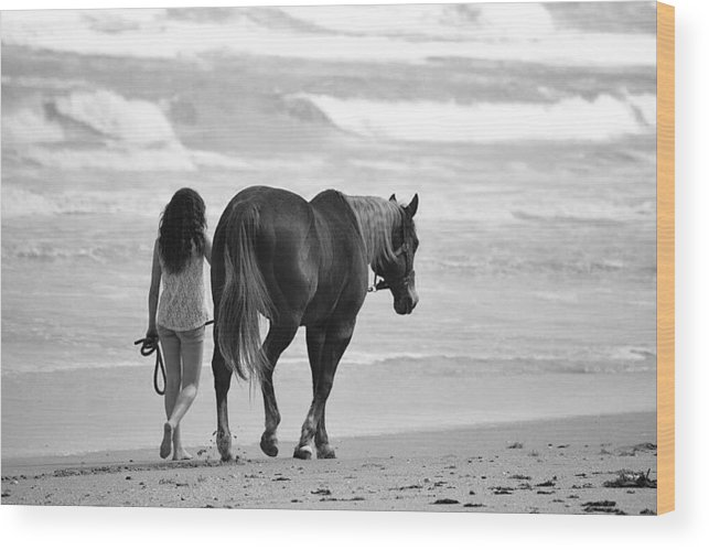 Beach Wood Print featuring the photograph Serene Synchronicity In Black And White by Christine Mertin