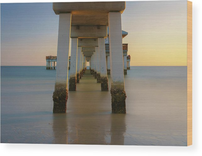 Pier Wood Print featuring the photograph Serenity Under The Pier by Mark Robert Rogers