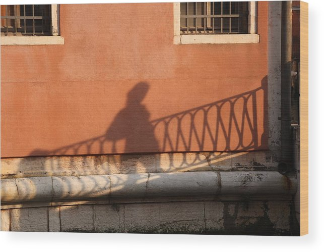 Venice Wood Print featuring the photograph Shadow Of A Person Crossing The Shadow Of A Bridge In Venice by Michael Henderson