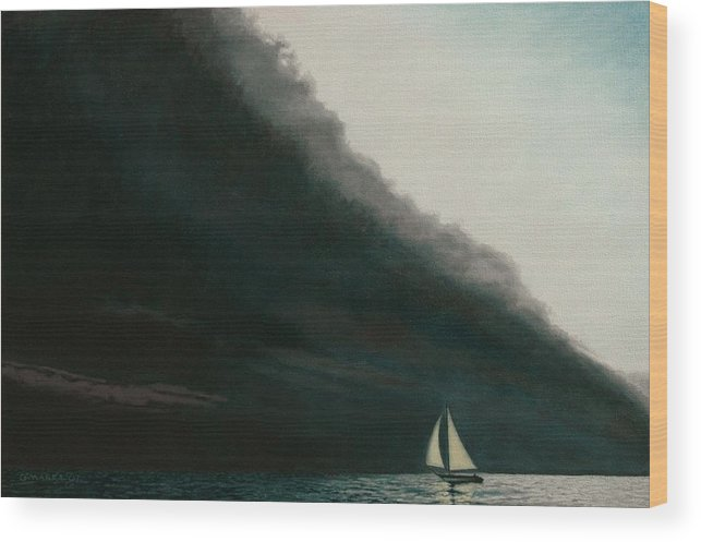 Sailing Wood Print featuring the painting Shadow Work by Allan OMarra