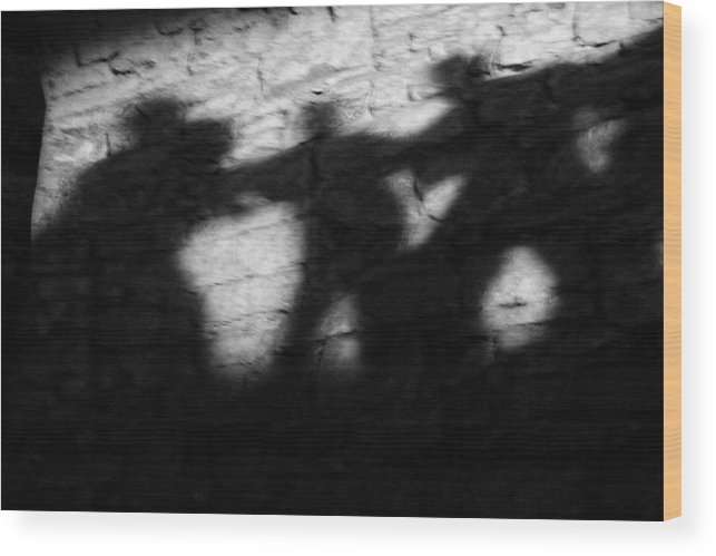 Wall Wood Print featuring the photograph Shadows On The Wall Of Edinburgh Castle by Christine Till
