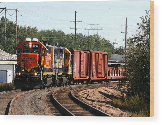 Train Wood Print featuring the photograph She Is Coming Around The Bend by David Dunham
