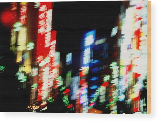 Neon Wood Print featuring the photograph Shinjuku Abstraction by Brad Rickerby