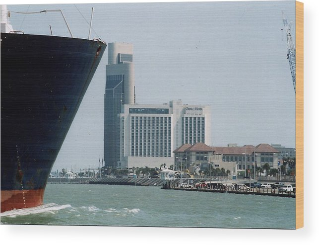 Marine Wood Print featuring the photograph Ship And Shoreline by Wendell Baggett