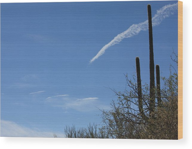 Desert Sky Wood Print featuring the photograph Shooting Cloud by Marsha L Power