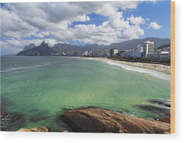 Bathing Wood Print featuring the photograph Shoreline Of Ipanema by George Oze