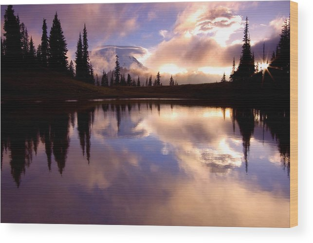 Rainier Wood Print featuring the photograph Shrouded In Clouds by Mike Dawson