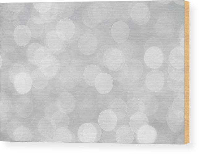 Bokeh Wood Print featuring the photograph Silver Grey Bokeh Abstract by Peggy Collins