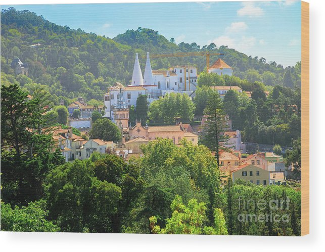 Sintra Wood Print featuring the photograph Sintra National Palace Aerial by Benny Marty