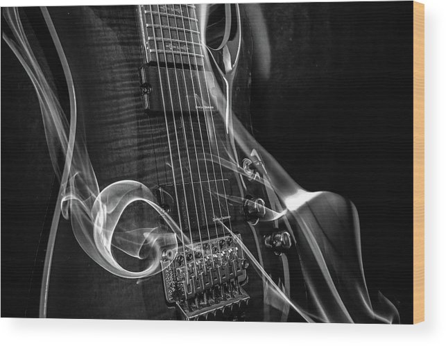 Guitar Wood Print featuring the digital art Six Stringer Bw by Michael Damiani