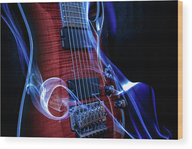 Guitar Wood Print featuring the digital art Six Stringer by Michael Damiani