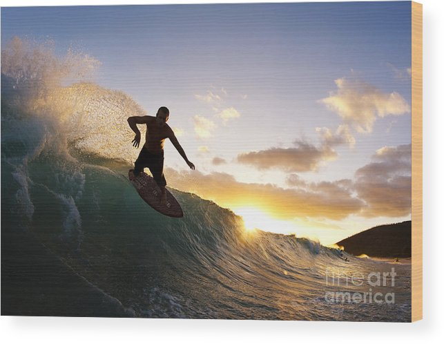 Action Wood Print featuring the photograph Skimboarding At Sunset I by MakenaStockMedia - Printscapes