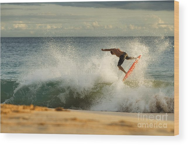 Action Wood Print featuring the photograph Skimboarding - Makena by MakenaStockMedia - Printscapes