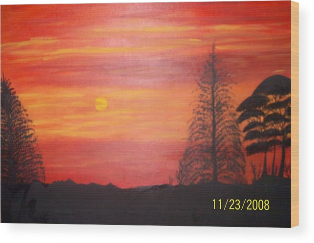 Landscape Wood Print featuring the painting Sky On Fire by Paula Ferguson