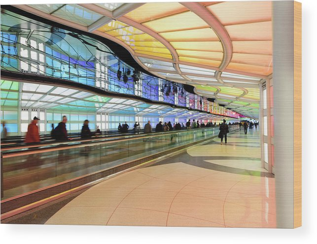 Wood Print featuring the photograph Sky's The Limit-underground Walkway by Johanna Froese