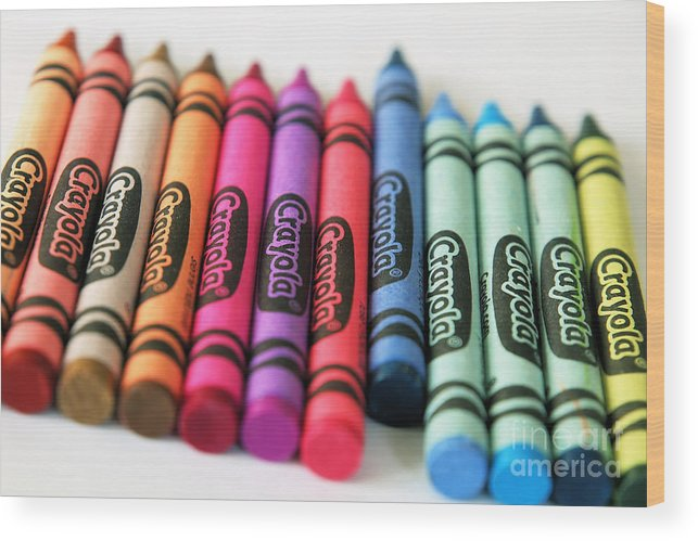Crayola Wood Print featuring the photograph Slanted Row Of Color by Valerie Morrison