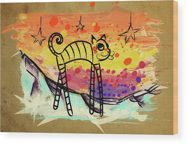 Cat Wood Print featuring the painting Slinky Cat by Tiffany Hunter