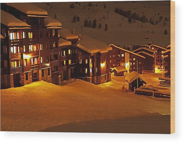 Snow Glow Wood Print featuring the painting Snow Glow by Harry Warrick