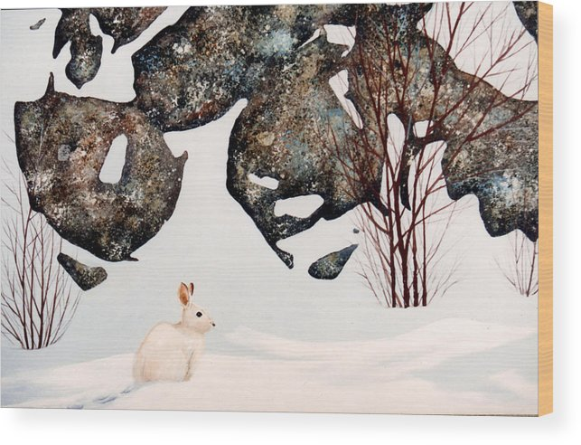 Wildlife Wood Print featuring the painting Snow Ledges Rabbit by Frank Wilson