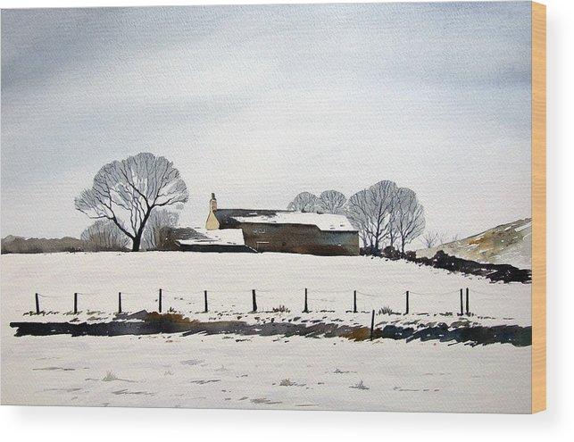 Winter Scene Wood Print featuring the painting Snow Scene Barkisland by Paul Dene Marlor