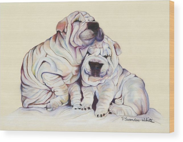 Dog Painting Wood Print featuring the pastel Snuggles by Pat Saunders-White