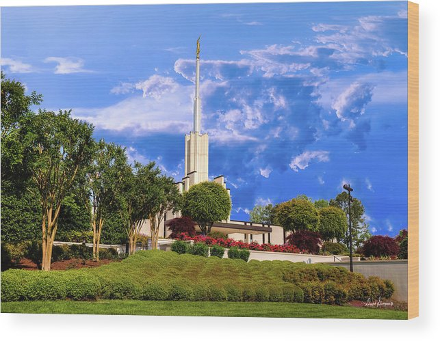 Atlanta Temple Wood Print featuring the photograph Softly Beckons by David Simpson