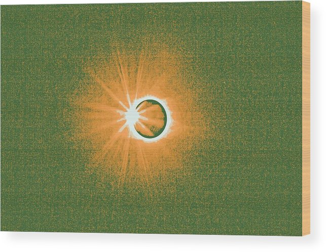 Sun Wood Print featuring the painting Solar Eclipse, 34 by Celestial Images