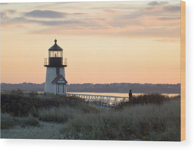 Nantucket Wood Print featuring the photograph Solitude At Brant Point Light Nantucket by Henry Krauzyk