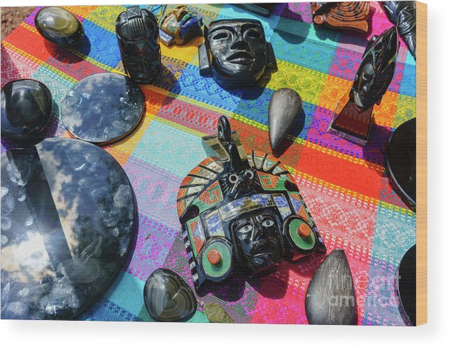 Teotihuacan Wood Print featuring the photograph Some Special Dark Black Rocks by Chon Kit Leong