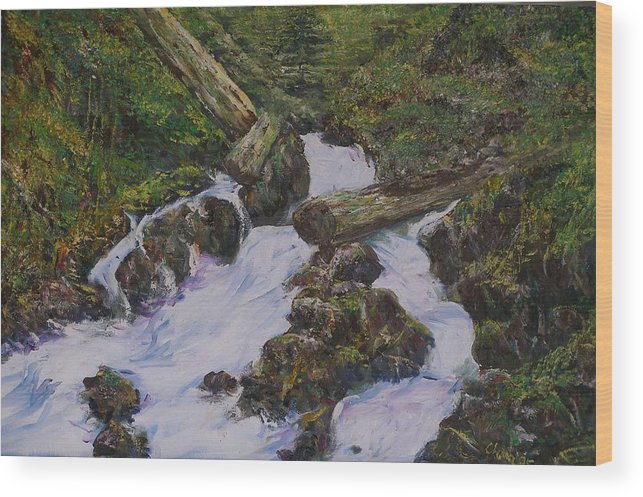 Landscape Wood Print featuring the painting Sound Of Water by Wendy Chua