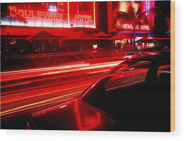 Neon Wood Print featuring the photograph South Beach Red by Brad Rickerby