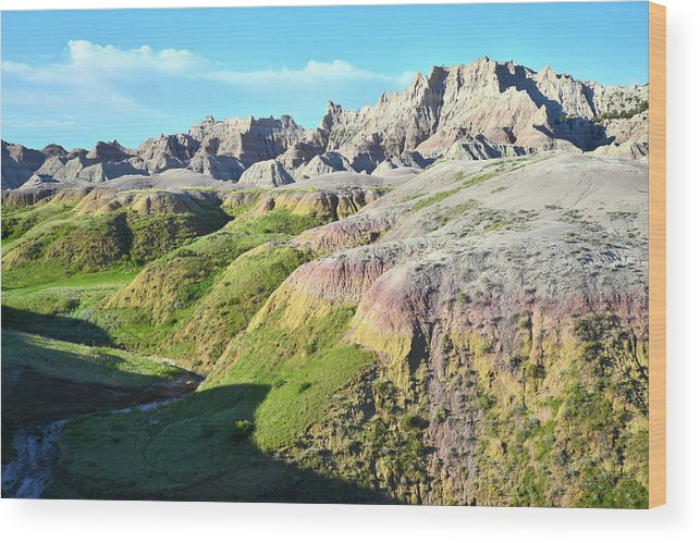 Badlands National Park Wood Print featuring the photograph South Dakota's Badlands National Park by Ray Mathis