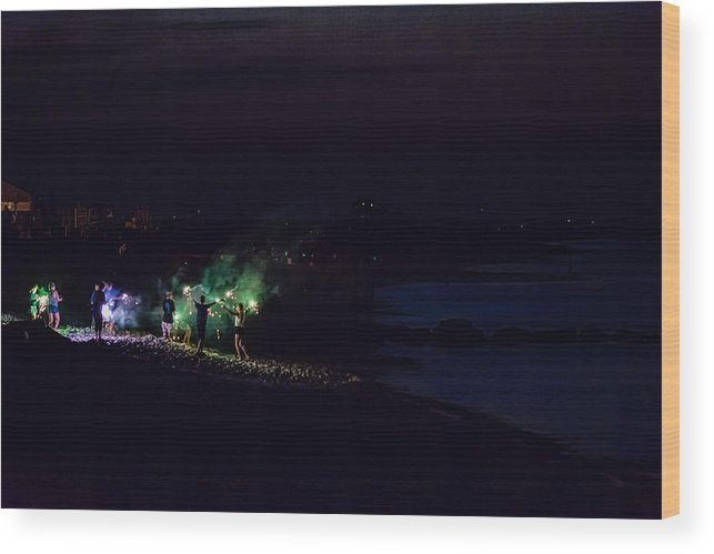 Atlantic Wood Print featuring the photograph Sparklers On The Beach by Black Brook Photography