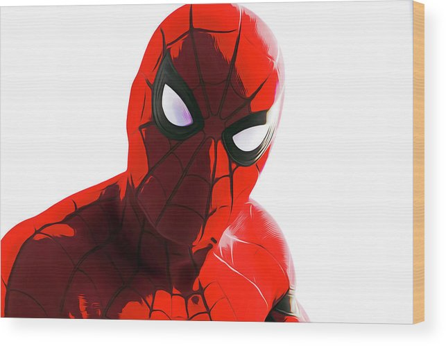 Spider-man Wood Print featuring the painting Spider-man by Sebastian Plat