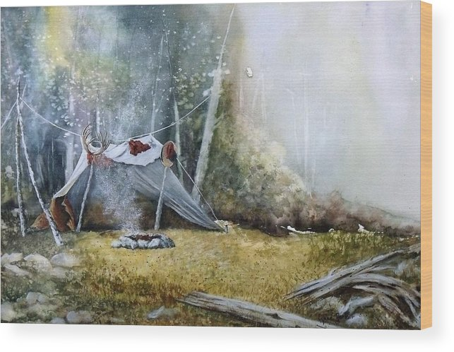 Tent Wood Print featuring the painting Spike Camp by Lynne Parker