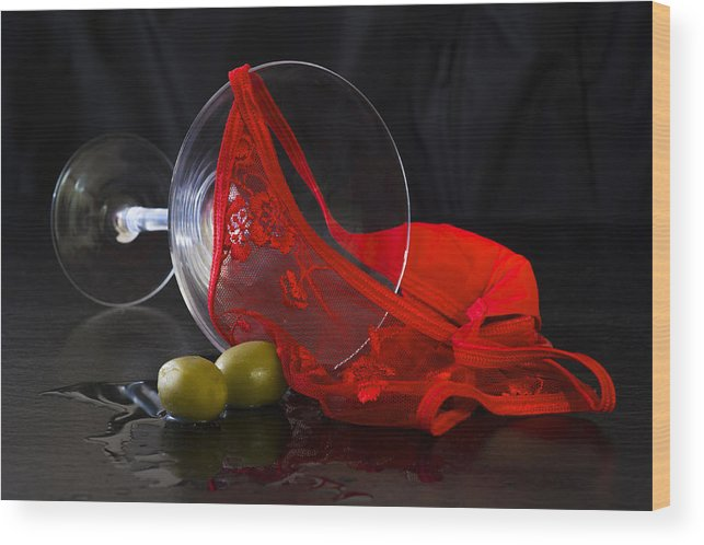 Alcohol Wood Print featuring the photograph Spilled Martini With Red Panties by Gavin Baker