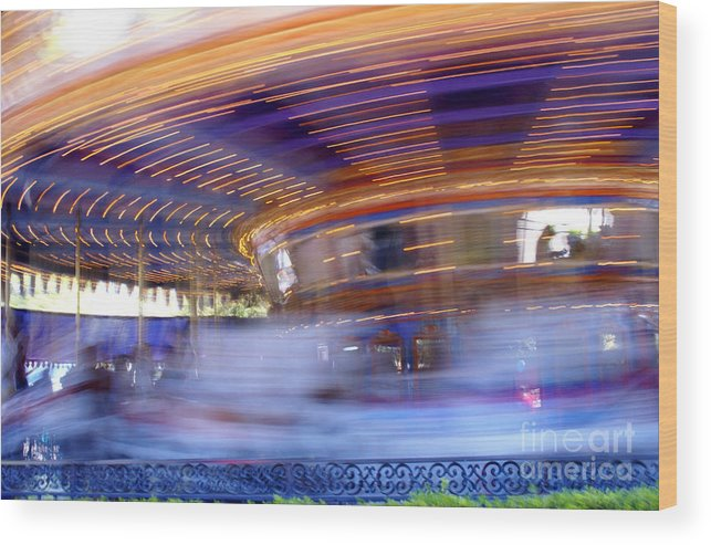 Carousel Wood Print featuring the photograph Spin Faster by Linda Shafer