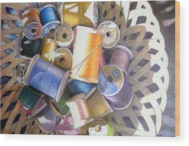 Still Life Wood Print featuring the painting Spools by Bonnie Haversat