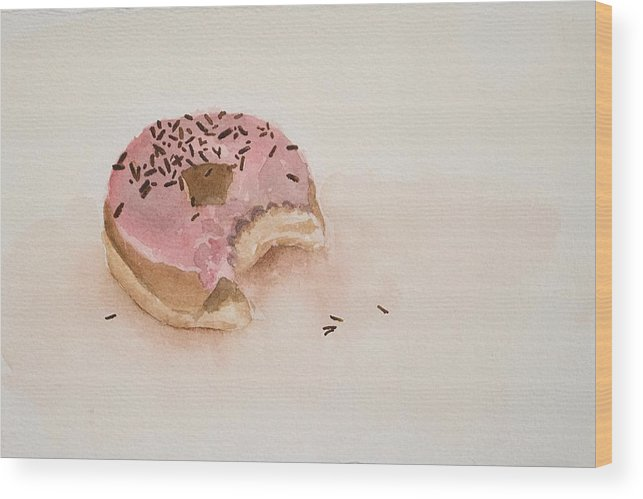 Donut Wood Print featuring the painting Spring Smidge by Laura Shoop