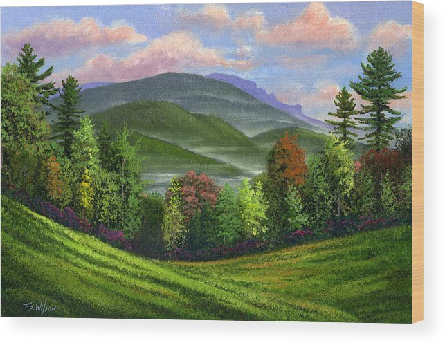 Landscape Wood Print featuring the painting Spring Time by Frank Wilson