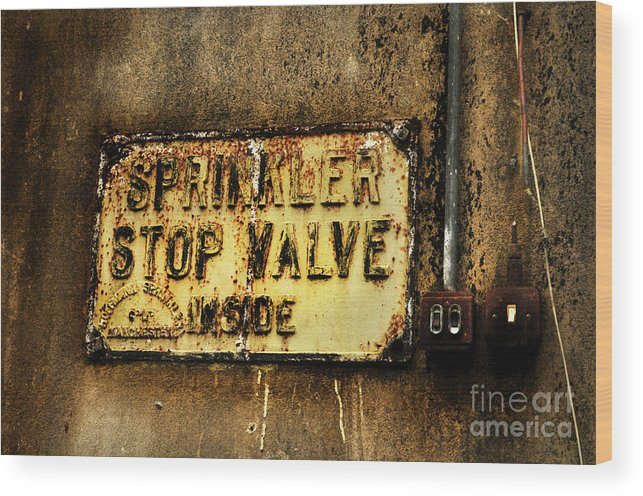 Sign Wood Print featuring the photograph Sprinkler by Dominique De Leeuw