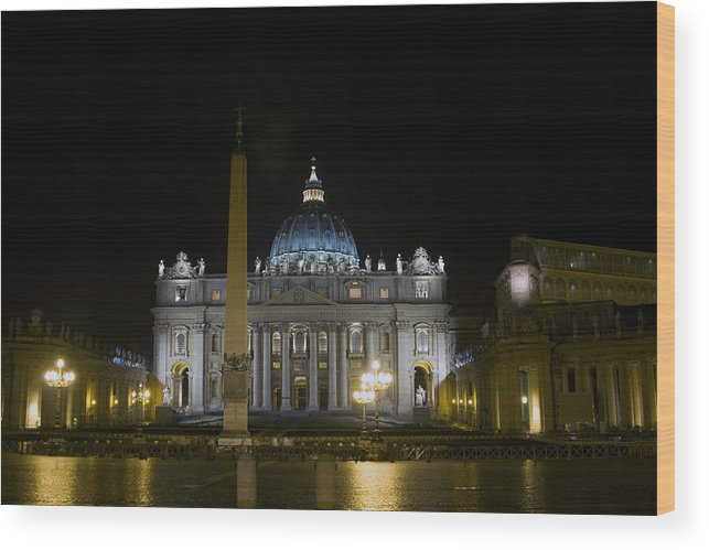 Italy Wood Print featuring the photograph St Peter's At Night by Alan Zeleznikar