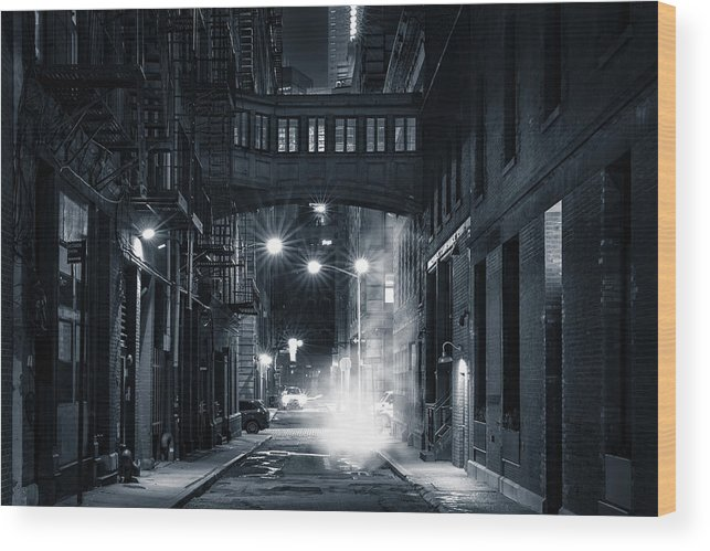 Alley Wood Print featuring the photograph Staple Street Skybridge By Night by Mihai Andritoiu