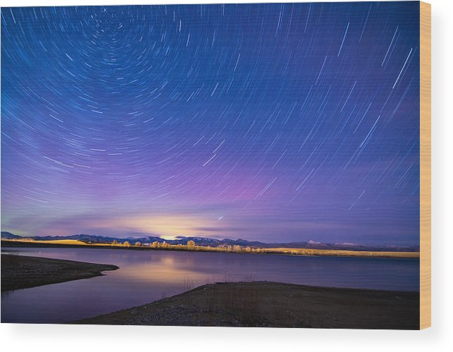 Nightscapes Wood Print featuring the photograph Star Trails And Auroras by Tory Stephens