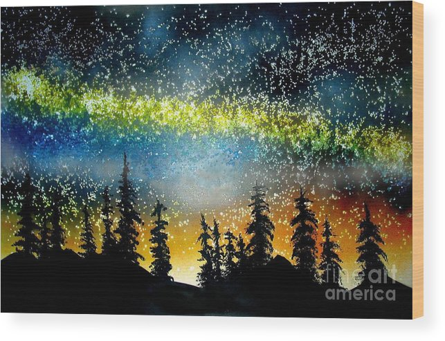 Stars Wood Print featuring the mixed media Starry Starry Night by Ed Moore