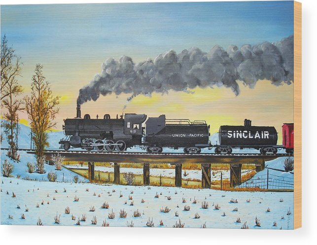Trains-steamtrains-paintings-landscape Trains -landscapes Skies- Locomotives Bridges Wood Print featuring the painting Steam Train One From Mike Massee Photo by Stephen Ponting