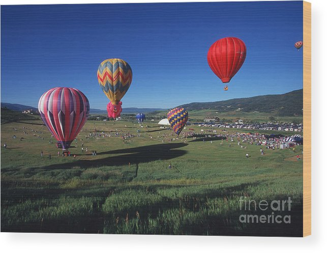 Colorado Wood Print featuring the photograph Steamboat Springs Balloon Festival by Stan and Anne Foster