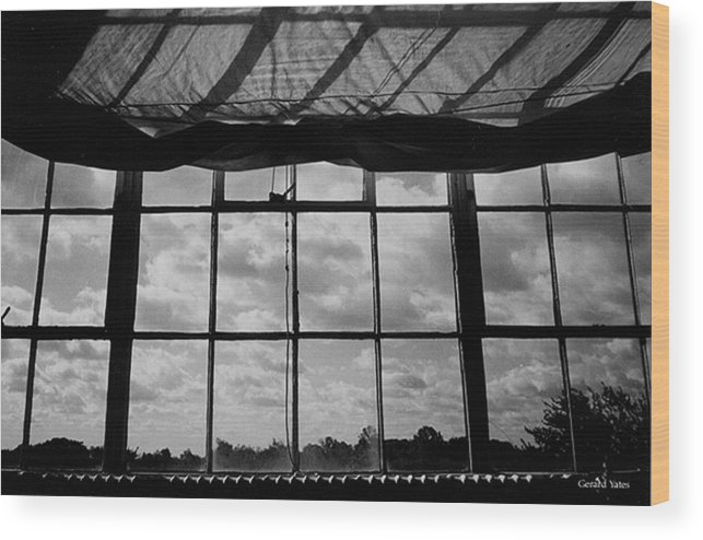 Black And White Wood Print featuring the photograph Steel Window by Gerard Yates